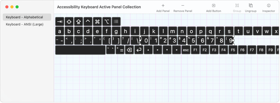 Jendela koleksi panel menampilkan daftar panel papan ketik di sebelah kiri, di sebelah kanan, tombol dan grup yang terdapat di panel.