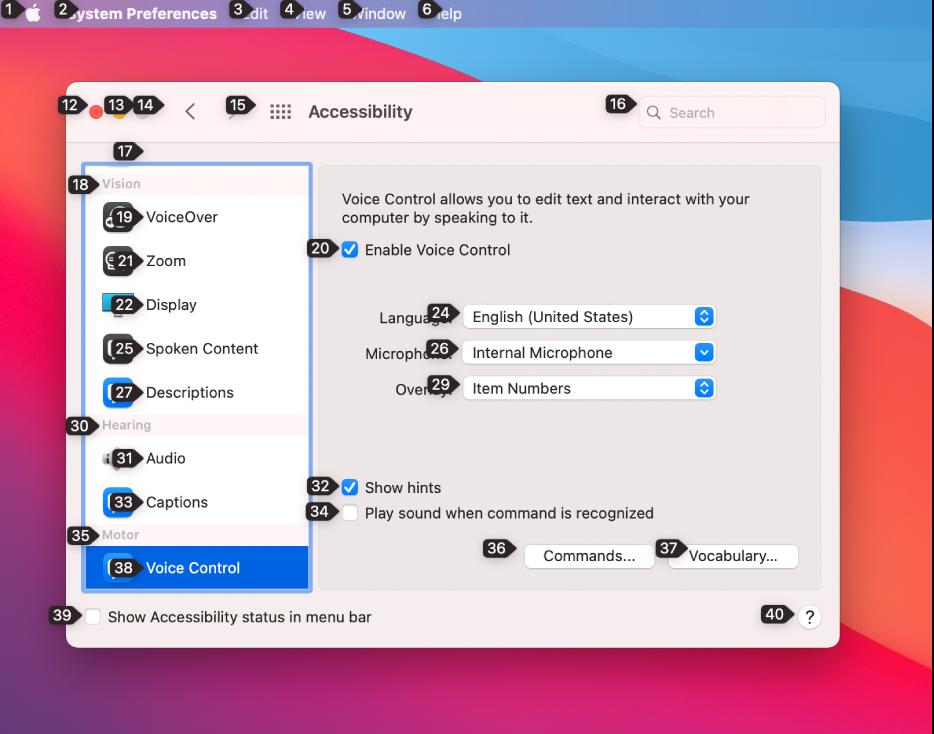 Parte esquerda da barra de menus mostrando um número ao lado de cada item na barra. Abaixo está o painel Controle por Voz da preferência Acessibilidade mostrando um número ao lado de cada controle da interface.