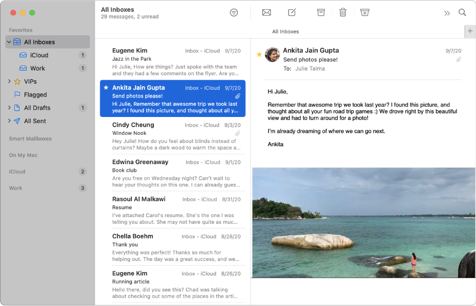 The sidebar in the Mail window showing inboxes for iCloud and Work accounts.