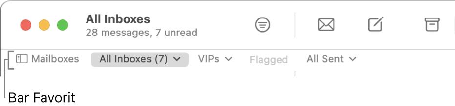 Bar Favorit menampilkan tombol Kotak Mail dan tombol untuk mengakses kotak mail favorit, seperti VIP dan Dibenderai.