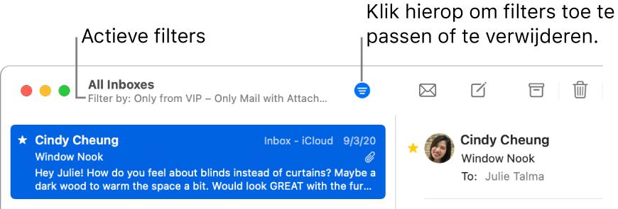 Het Mail-venster met boven de berichtenlijst de knoppenbalk waarin de toegepaste filters worden weergegeven, zoals 'Alleen van vip'.