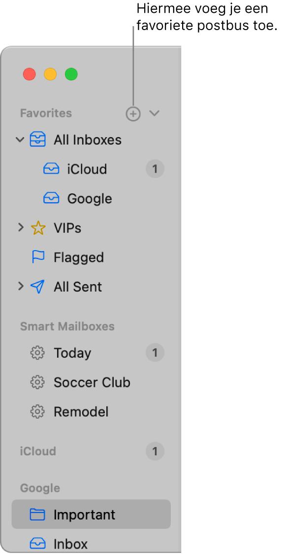 De navigatiekolom van Mail met daarin verschillende accounts en postbussen en gedeelten zoals 'Favorieten' en 'Slimme postbussen'. Klik boven in de navigatiekolom op de knop rechts van 'Favorieten' om een postbus aan dat gedeelte toe te voegen.