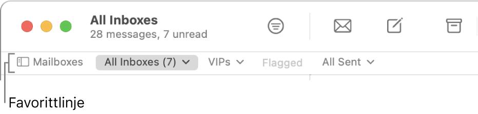 Favorittlinjen, som viser Postkasser-knappen og knapper som gir tilgang til favorittpostkasser, for eksempel VIP-er eller Flagget.