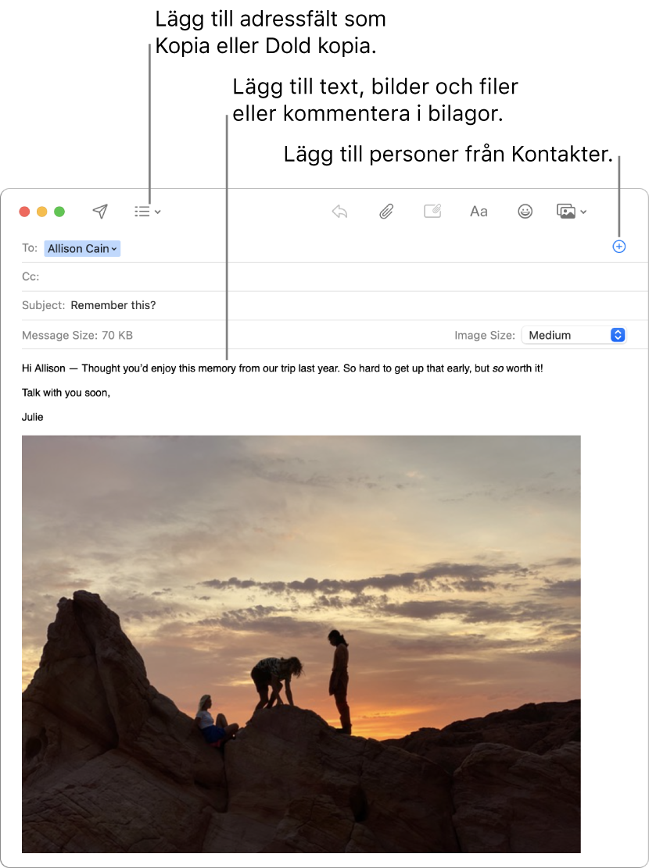 Ett nytt mejlfönster med markeringar av knappen brevhuvudfält, knappen lägg till i ett adressfält för att lägga in personer från Kontakter och en bild med märkningar i mejlkroppen.