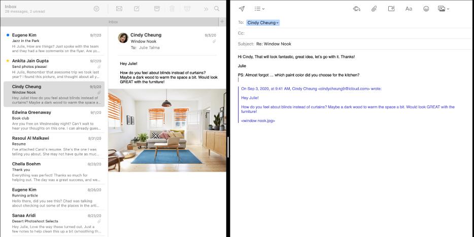 Mejllistan sida vid sida med ett skrivfönster i Split View.
