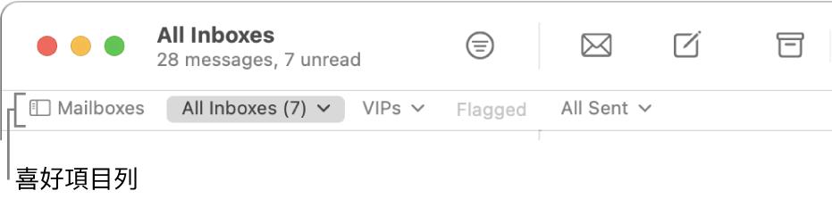 「喜好項目」列會顯示「信箱」按鈕及其他按鈕,用於取用設為喜好項目的信箱,例如 VIP 或「已加上旗標」。