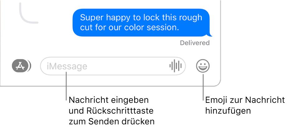 """Eine Konversation im Fenster """"Nachrichten"""" mit dem Textfeld unten im Fenster."""