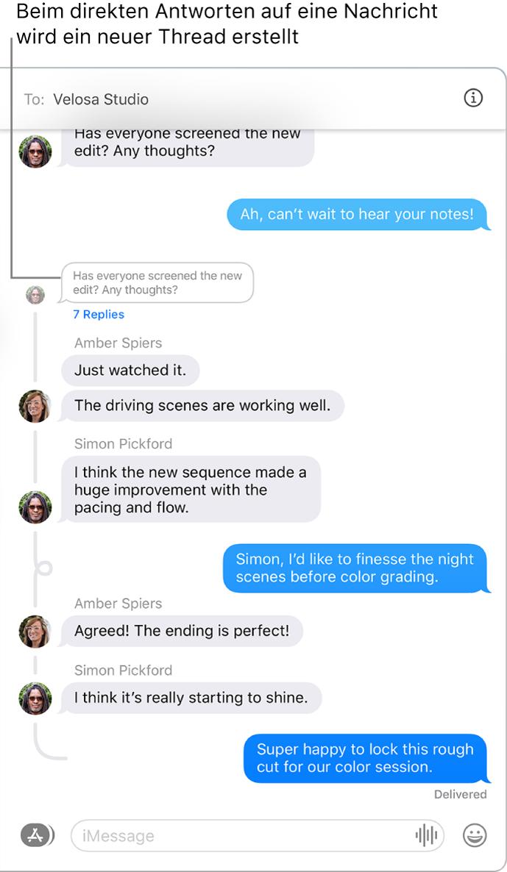 """Das Fenster """"Nachrichten"""" zeigt eine Konversation mit mehreren Antworten in einem Nachrichten-Thread."""