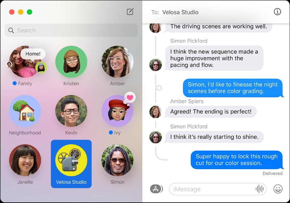 """Die App """"Nachrichten"""" mit mehreren angehefteten Konversationen auf der linken Seite des Fensters."""