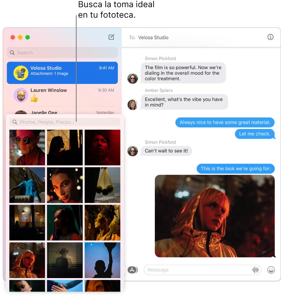 La ventana de Mensajes con varias conversaciones enlistadas en la barra lateral de la izquierda, el campo de búsqueda para explorar tus fotos, y una conversación mostrándose en la derecha.