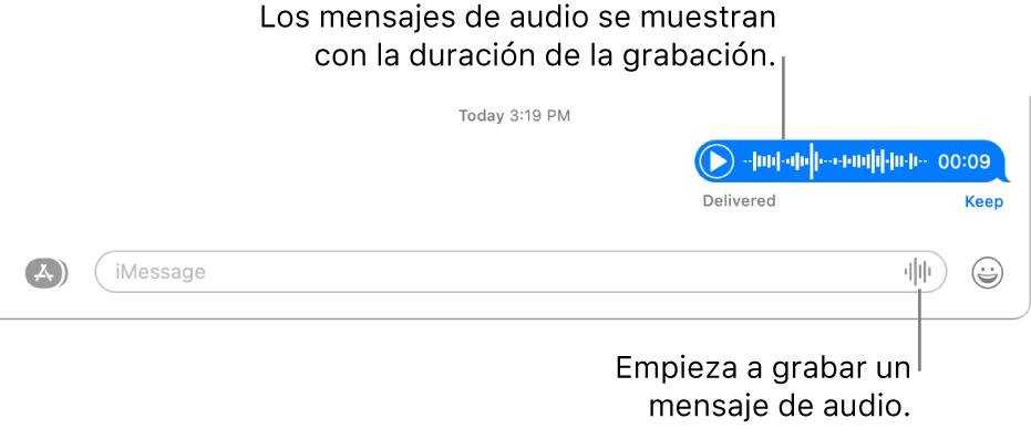 """Una conversación en la ventana de Mensajes mostrando el botón """"Grabar audio"""" junto al campo de texto en la parte inferior de la ventana. Un mensaje de audio aparece con su duración registrada en la conversación."""