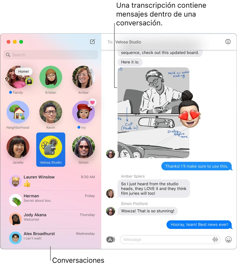 La ventana de Mensajes con conversaciones en la barra lateral y la transcripción que contiene los mensajes dentro de la conversación.