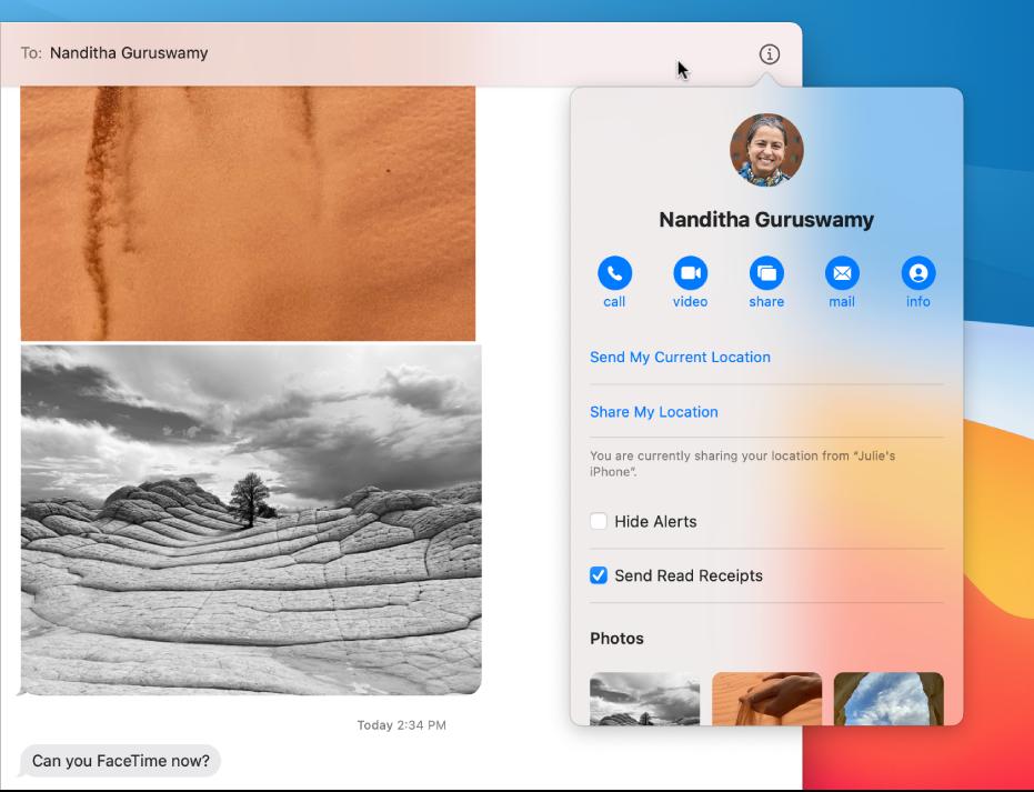 """Vista de los detalles con los botones Llamada, Video y """"Compartir pantalla"""" debajo del nombre de tu amigo."""