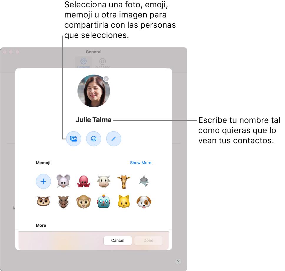 """Al configurar """"Compartir tu nombre y foto"""", puedes seleccionar una foto, emoji, Memoji u otra imagen para compartirla con las personas que elijas; además, introduce el nombre tal y como quieras que lo vean tus contactos."""