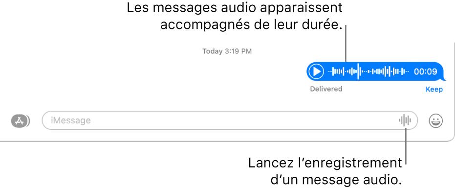 Une conversation dans la fenêtreMessages avec le bouton«Enregistrer l'audio» en regard de la zone de texte au bas de la fenêtre. Un message audio s'affiche avec sa durée dans la conversation.