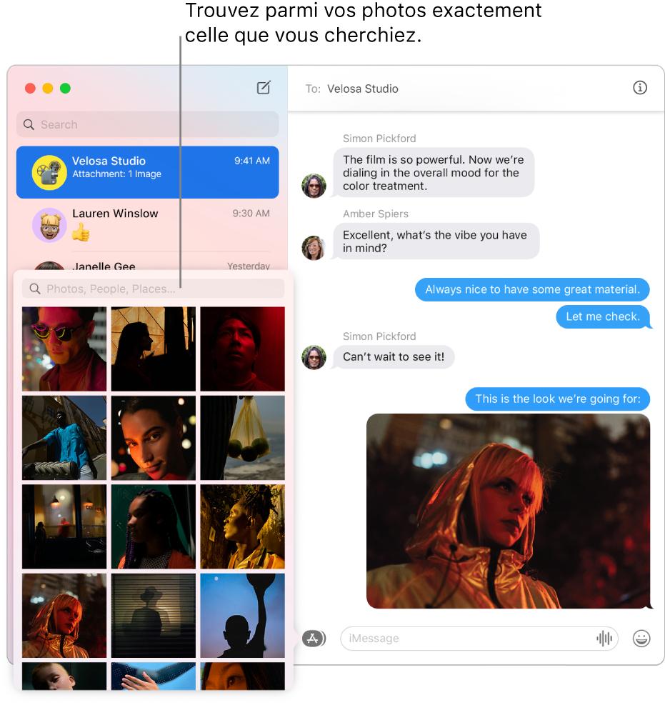 La fenêtre Messages avec plusieurs conversations répertoriées dans la barre latérale à gauche, le champ de recherche pour effectuer une recherche dans vos photos et une conversation qui s'affiche à droite.