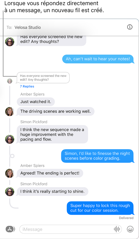 La fenêtre Messages montrant une conversation avec plusieurs réponses qui se suivent dans un message.