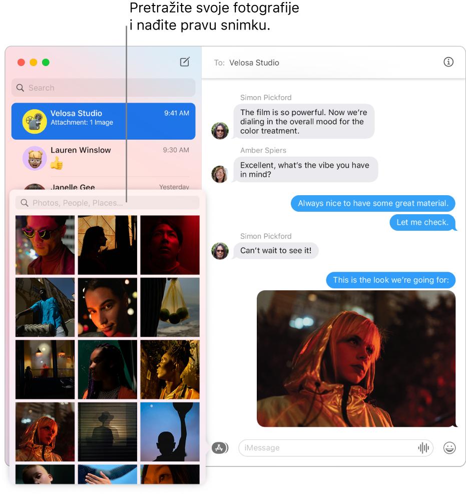 Prozor Poruke s popisom nekoliko razgovora u rubnom stupcu s lijeve strane, poljem za pretraživanje fotografija i prikazom razgovora s desne.