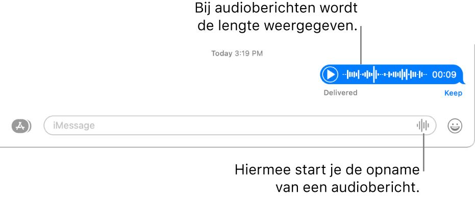 Een gesprek in het Berichten-venster, met de knop 'Neem audio op' naast het tekstveld onder in het venster. Wanneer in een gesprek een audiobericht is opgenomen, wordt daarbij de duur van de opname vermeld.