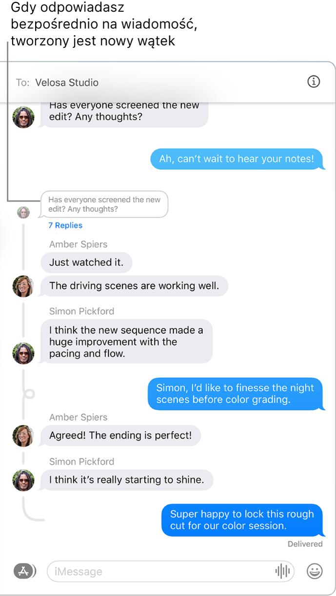 Okno aplikacji Wiadomości, wyświetlające rozmowę zawierającą wątek złożony zkilku odpowiedzi.