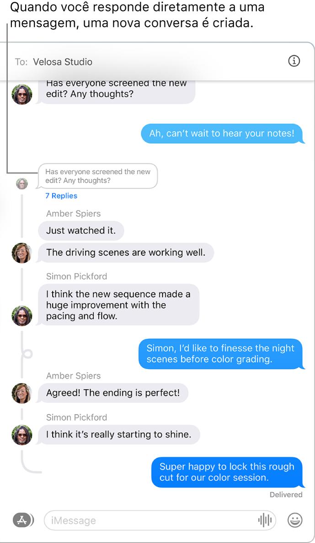 A janela do Mensagens mostrando uma conversa com várias respostas encadeadas dentro de uma mensagem.