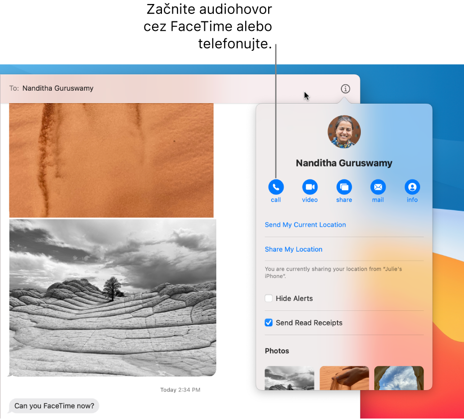 Zobrazenie Detaily, ktoré sa objaví po kliknutí na tlačidlo Detaily vkonverzácii. Stlačením tlačidla hovoru vľavo začnete audiohovor cez FaceTime alebo telefónny hovor.