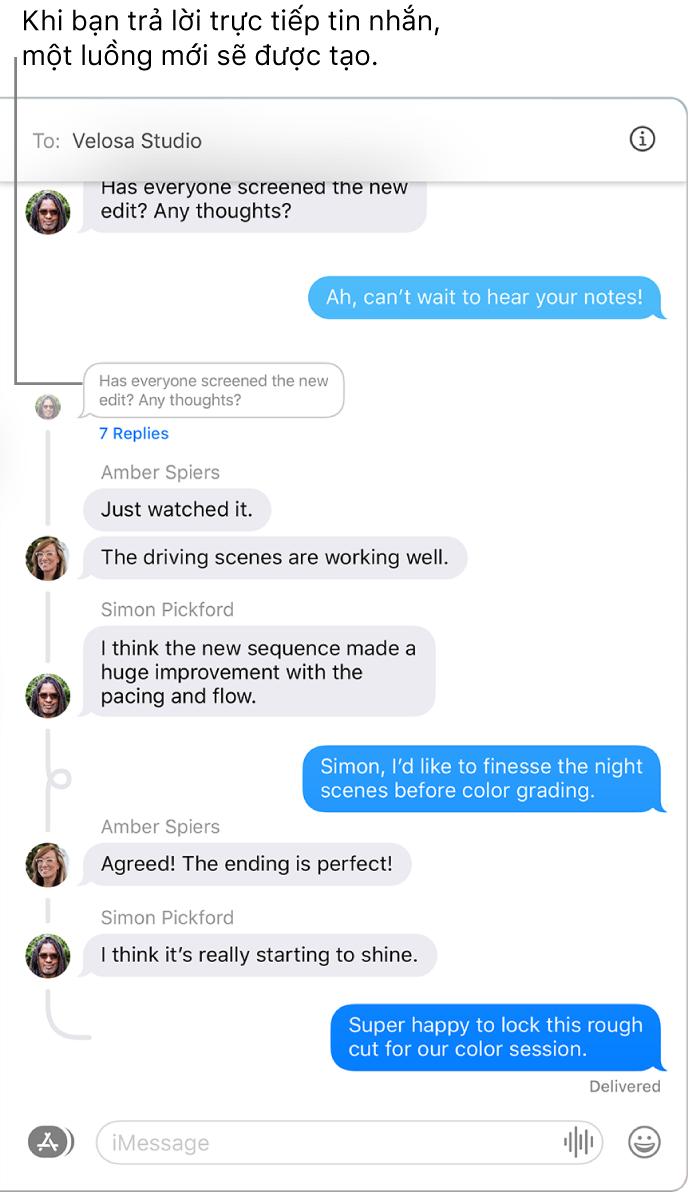 Cửa sổ Tin nhắn đang hiển thị cuộc hội thoại với một vài câu trả lời được phân luồng trong tin nhắn.