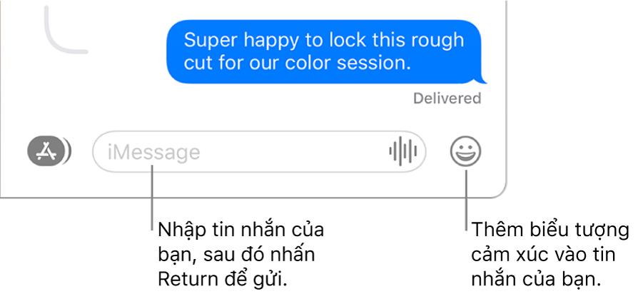 Một cuộc hội thoại trong cửa sổ Tin nhắn, với trường văn bản đang hiển thị ở cuối cửa sổ.