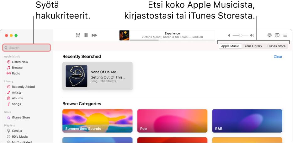 AppleMusic -ikkuna, jossa näkyy hakukenttä vasemmassa yläkulmassa, kategorialuettelo keskellä sekä AppleMusic, kirjastosi ja iTunesStore oikeassa yläkulmassa. Syötä hakukriteerit hakukenttään ja valitse sitten, etsitäänkö koko AppleMusicista, vain kirjastostasi vai iTunesStoresta.