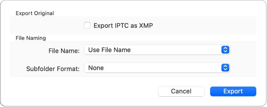 A dialog showing options for exporting photo files in their original format.
