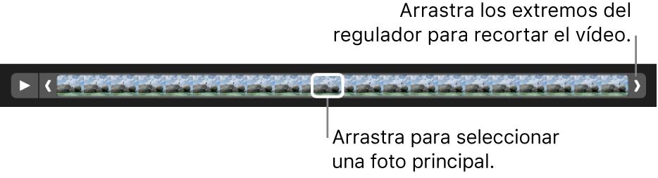 Controladores de recorte en un clip de vídeo.