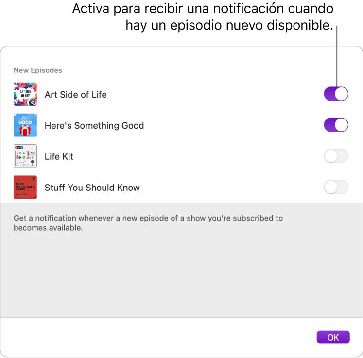 La ventana de notificaciones. Haz clic en el conmutador para recibir una notificación cuando haya un episodio nuevo disponible.