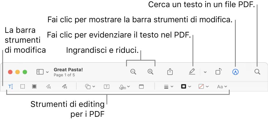 La barra degli strumenti Modifica per modificare un PDF.