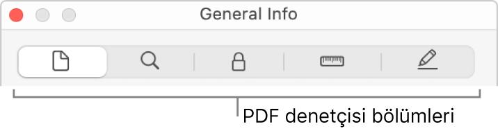 PDF denetçi bölümleri.