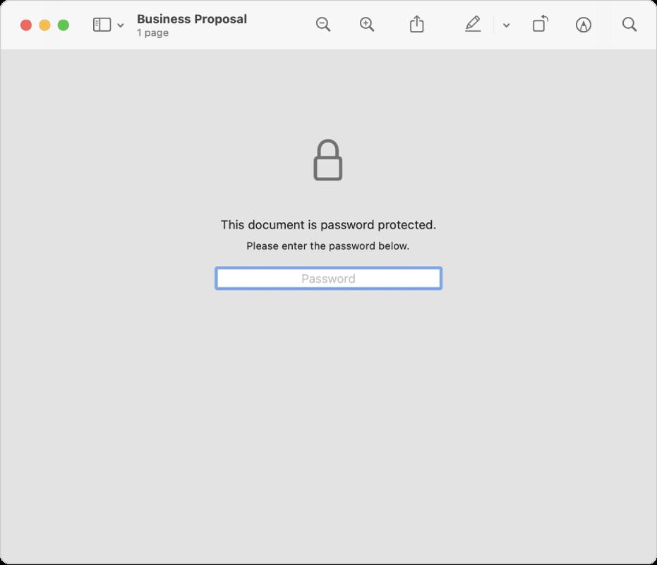 受密碼保護的 PDF 顯示鎖頭圖像,以及用於輸入密碼以打開檔案的文字欄位。