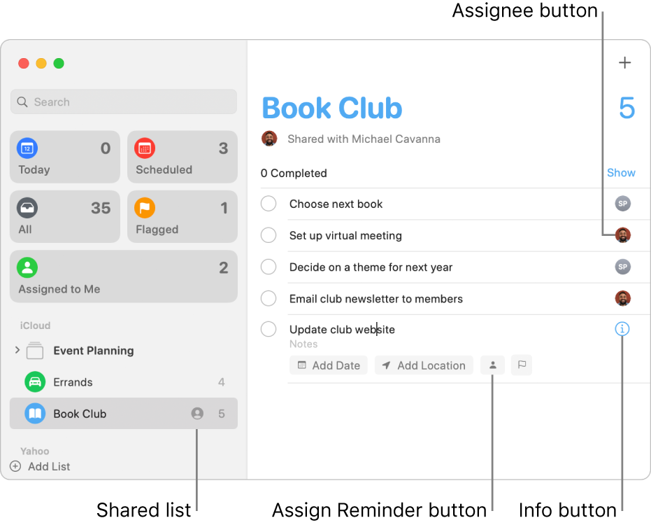 A Reminders window showing a shared list with assigned reminders.