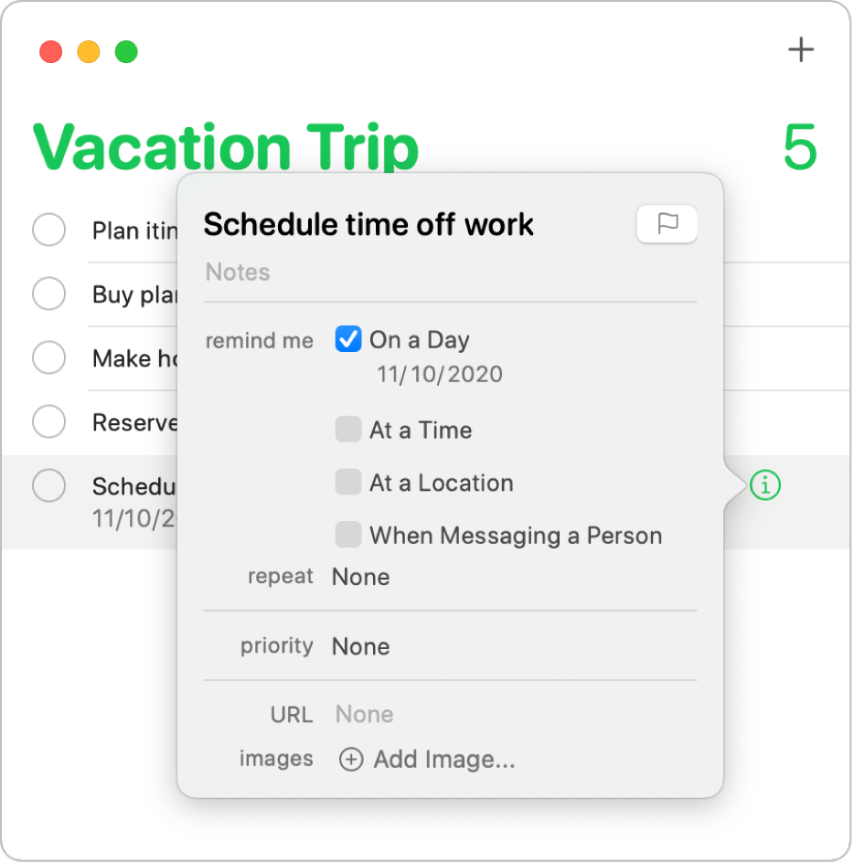 A reminder list showing the inspector window for a reminder.