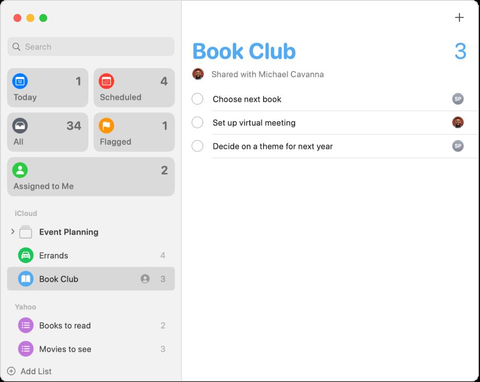 Fenêtre Rappels, avec des rappels provenant de comptes iCloud et Yahoo.