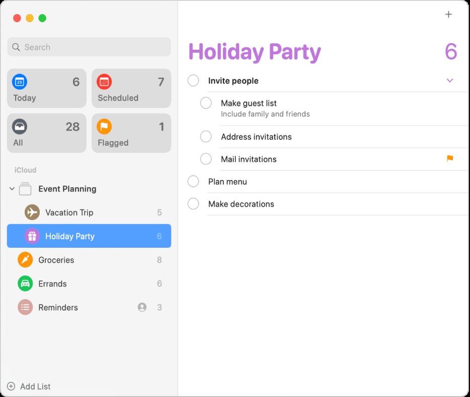 Okno aplikacji Przypomnienia, pokazujące listę zawierającą zadania podrzędne.
