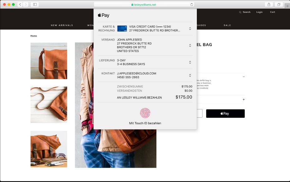 Ein populäres Einkaufsportal, das Apple Pay unterstützt, und Detailangaben zu einem Einkauf, zum Beispiel die belastete Kreditkarte, die Lieferadresse, die Wareninformationen und der Kaufpreis.