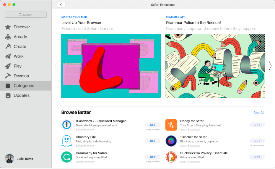 The main Mac App Store page. The sidebar on the left includes links to different areas of the store, like Arcade and Create, and Categories is selected. On the right is the Safari extensions category.