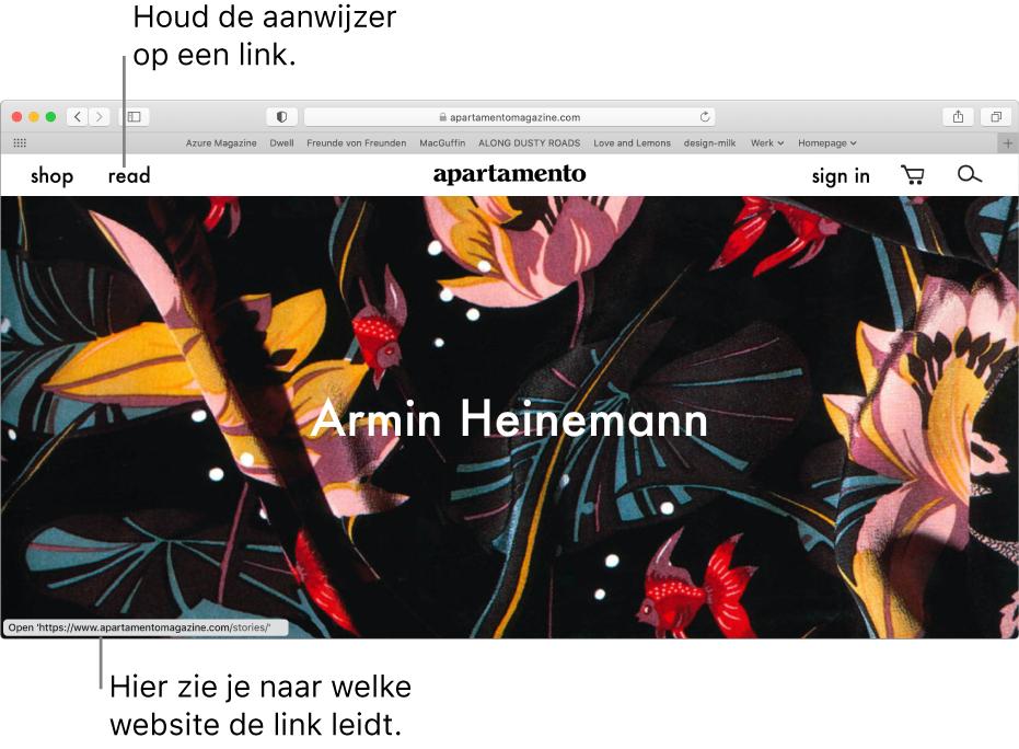 De aanwijzer op een link op een webpagina en de URL van de link in de statusbalk onder in het venster.