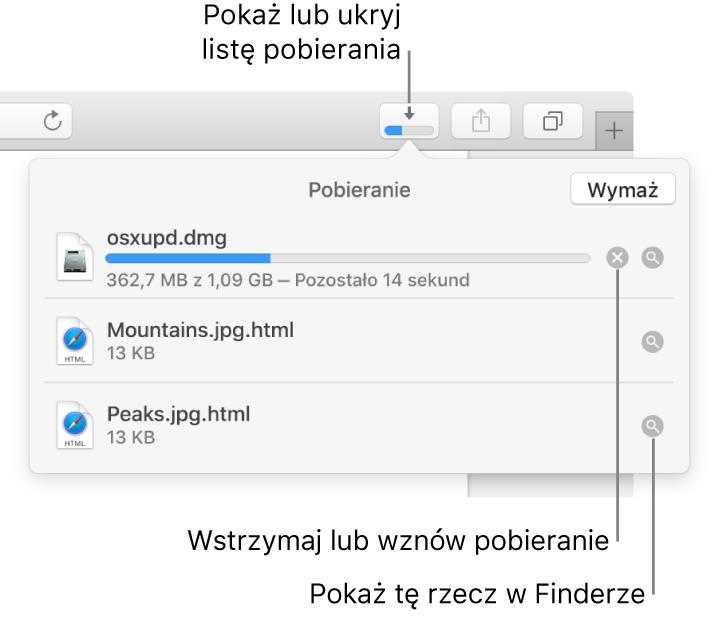 Przycisk pokazywania pobieranych rzeczy na pasku narzędzi. Poniżej tego przycisku widoczna jest lista pobierania.