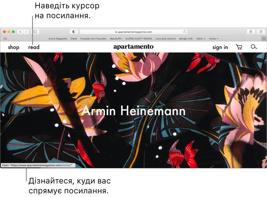 Вказівник, наведений на веб-сторінку, і посилання на URL-адресу, показане на панелі стану в нижній частині вікна.