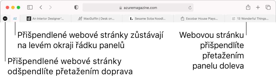 Připnuté stránky na řádku panelů vSafari
