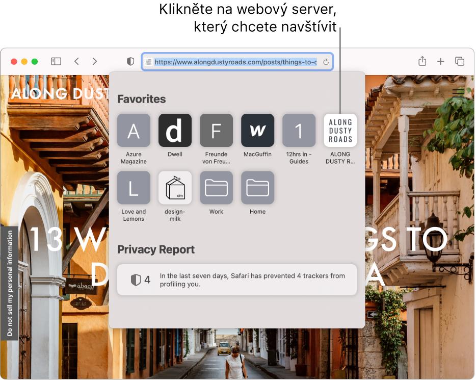 Dynamické vyhledávací pole Safari; pod ním se nachází úvodní stránka soddílem Oblíbené apřehledem Zpráva osoukromí.