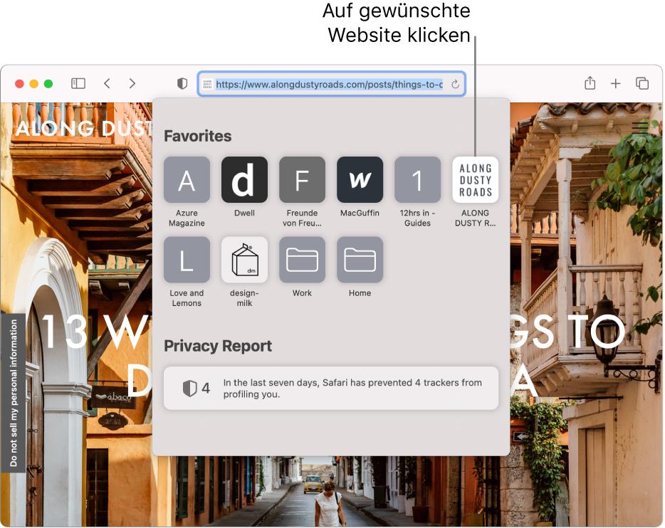 Das intelligente Suchfeld von Safari; darunter befindet sich die Startseite mit den Favoriten und der Zusammenfassung des Datenschutzberichts.