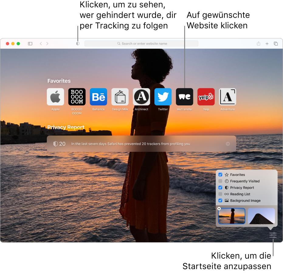 Die Startseite von Safari mit bevorzugten Websites, einer Zusammenfassung des Datenschutzberichts, Artikeln in der Leseliste und den Optionen für die Startseite.