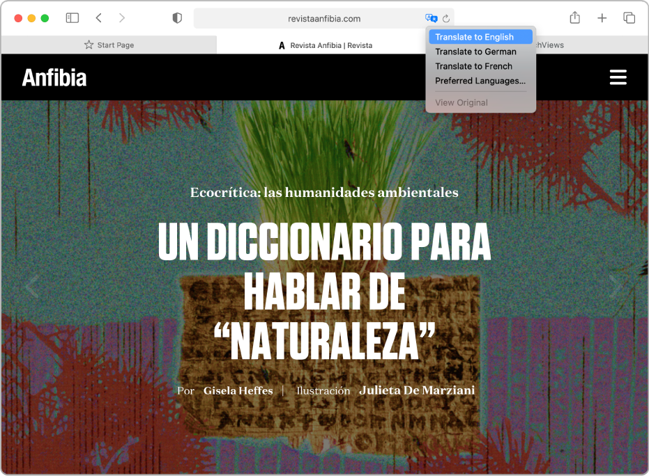Μια ιστοσελίδα στα Ισπανικά. Το πεδίο Έξυπνης αναζήτησης περιλαμβάνει ένα κουμπί Μετάφρασης και εμφανίζει μια λίστα των διαθέσιμων γλωσσών.