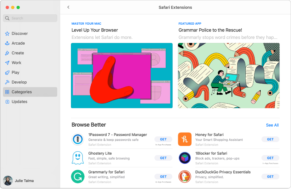 The main Mac App Store page. The sidebar on the left includes links to different areas of the store, like Arcade and Create and Categories is selected. On the right is the Safari extensions category.